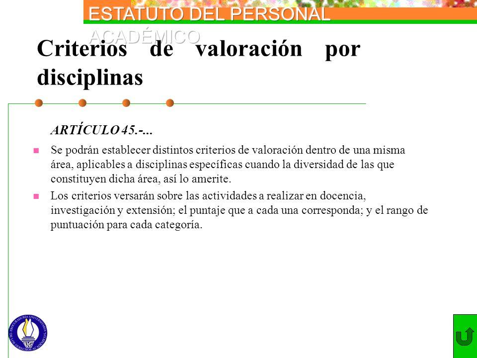 Criterios de valoración por disciplinas ARTÍCULO 45.-... Se podrán establecer distintos criterios de valoración dentro de una misma área, aplicables a
