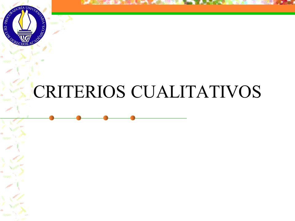 CRITERIOS CUALITATIVOS
