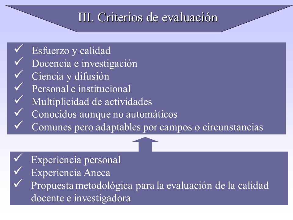 III. Criterios de evaluación Esfuerzo y calidad Docencia e investigación Ciencia y difusión Personal e institucional Multiplicidad de actividades Cono