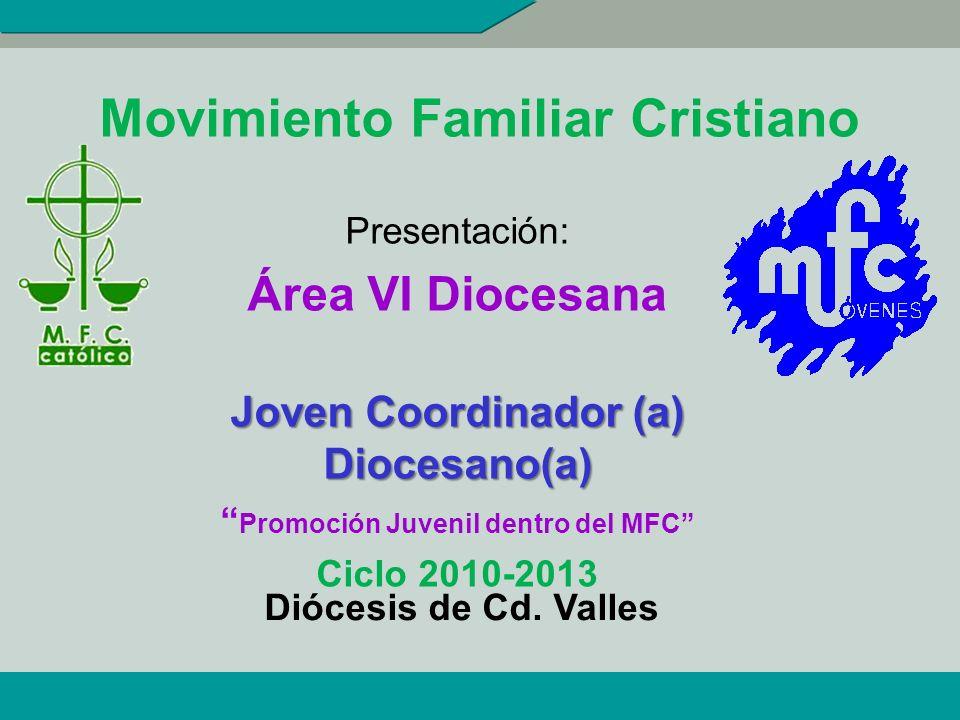 Movimiento Familiar Cristiano Presentación: Área VI Diocesana Joven Coordinador (a) Diocesano(a) Promoción Juvenil dentro del MFC Ciclo 2010-2013 Dióc
