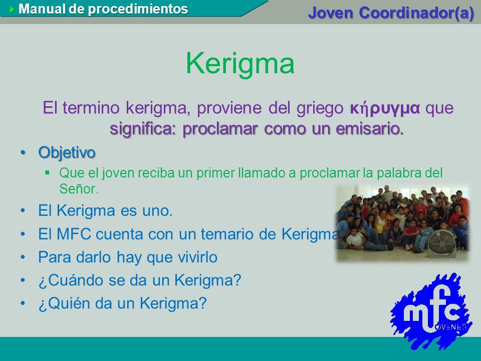 Kerigma significa: proclamar como un emisario. El termino kerigma, proviene del griego κ ρυγμα que significa: proclamar como un emisario. ObjetivoObje