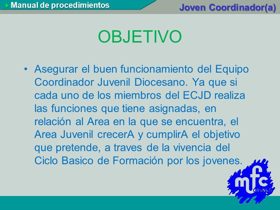 OBJETIVO Asegurar el buen funcionamiento del Equipo Coordinador Juvenil Diocesano. Ya que si cada uno de los miembros del ECJD realiza las funciones q
