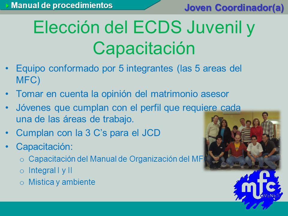 Elección del ECDS Juvenil y Capacitación Equipo conformado por 5 integrantes (las 5 areas del MFC) Tomar en cuenta la opinión del matrimonio asesor Jó