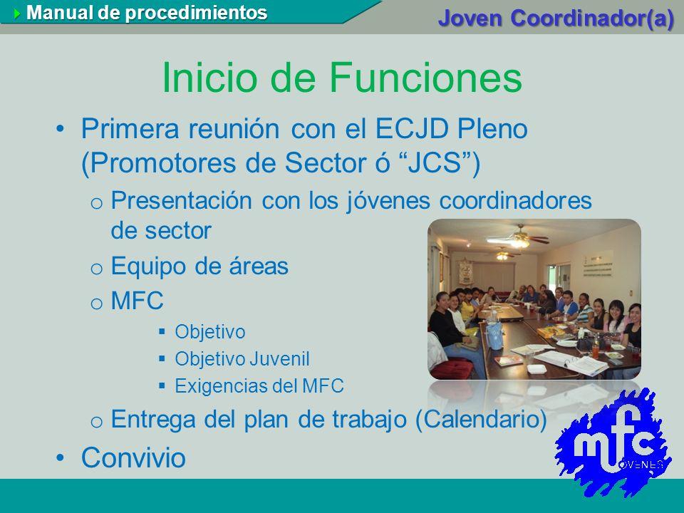 Inicio de Funciones Primera reunión con el ECJD Pleno (Promotores de Sector ó JCS) o Presentación con los jóvenes coordinadores de sector o Equipo de