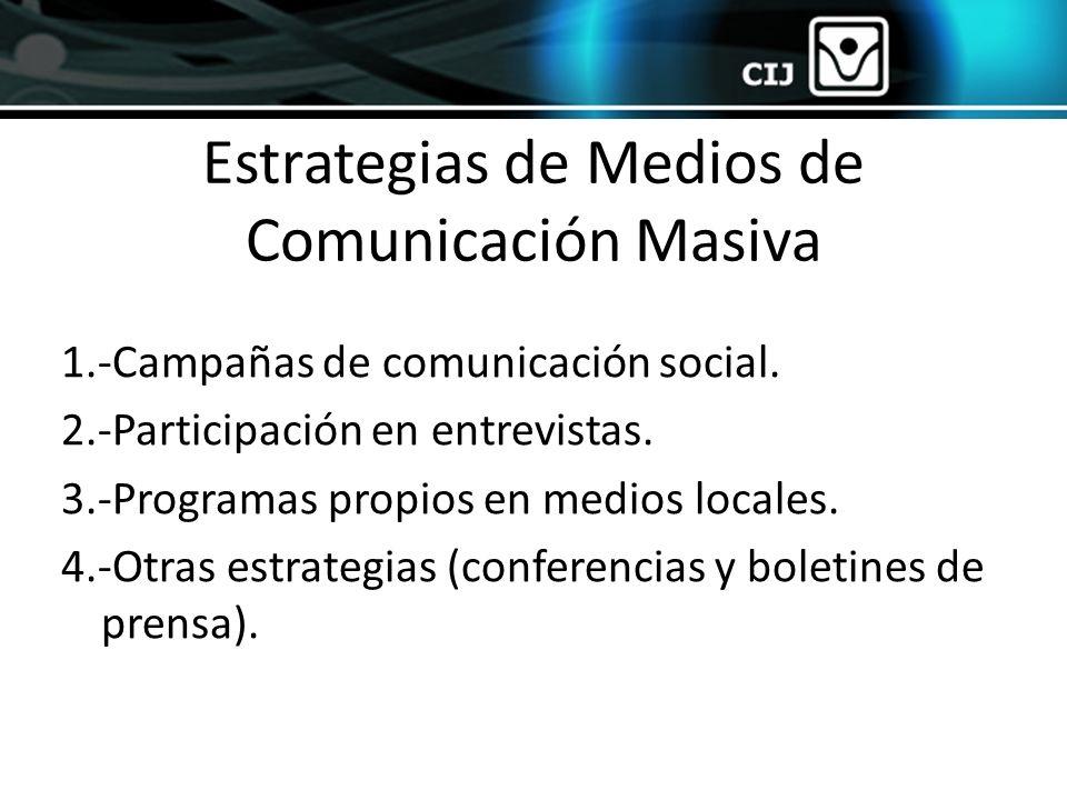 Estrategias de Medios de Comunicación Masiva 1.-Campañas de comunicación social. 2.-Participación en entrevistas. 3.-Programas propios en medios local