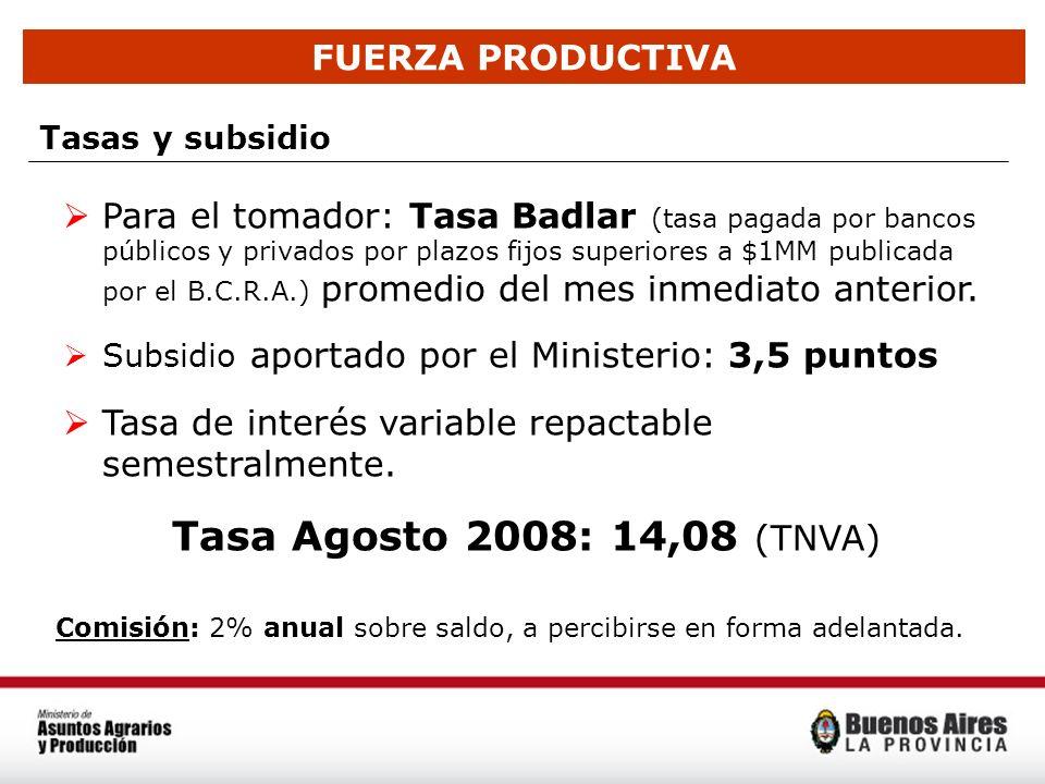 FUERZA PRODUCTIVA Tasas y subsidio Para el tomador: Tasa Badlar (tasa pagada por bancos públicos y privados por plazos fijos superiores a $1MM publica