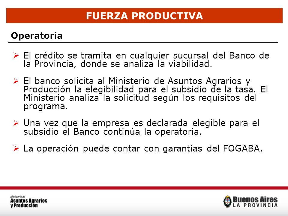 FUERZA PRODUCTIVA Operatoria El crédito se tramita en cualquier sucursal del Banco de la Provincia, donde se analiza la viabilidad. El banco solicita