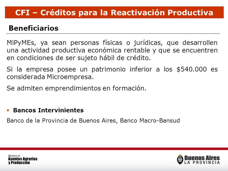 Beneficiarios MiPyMEs, ya sean personas físicas o jurídicas, que desarrollen una actividad productiva económica rentable y que se encuentren en condic