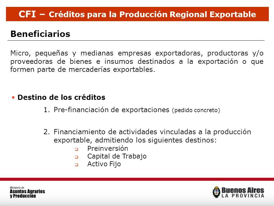 Beneficiarios Destino de los créditos 1.Pre-financiación de exportaciones (pedido concreto) 2.Financiamiento de actividades vinculadas a la producción