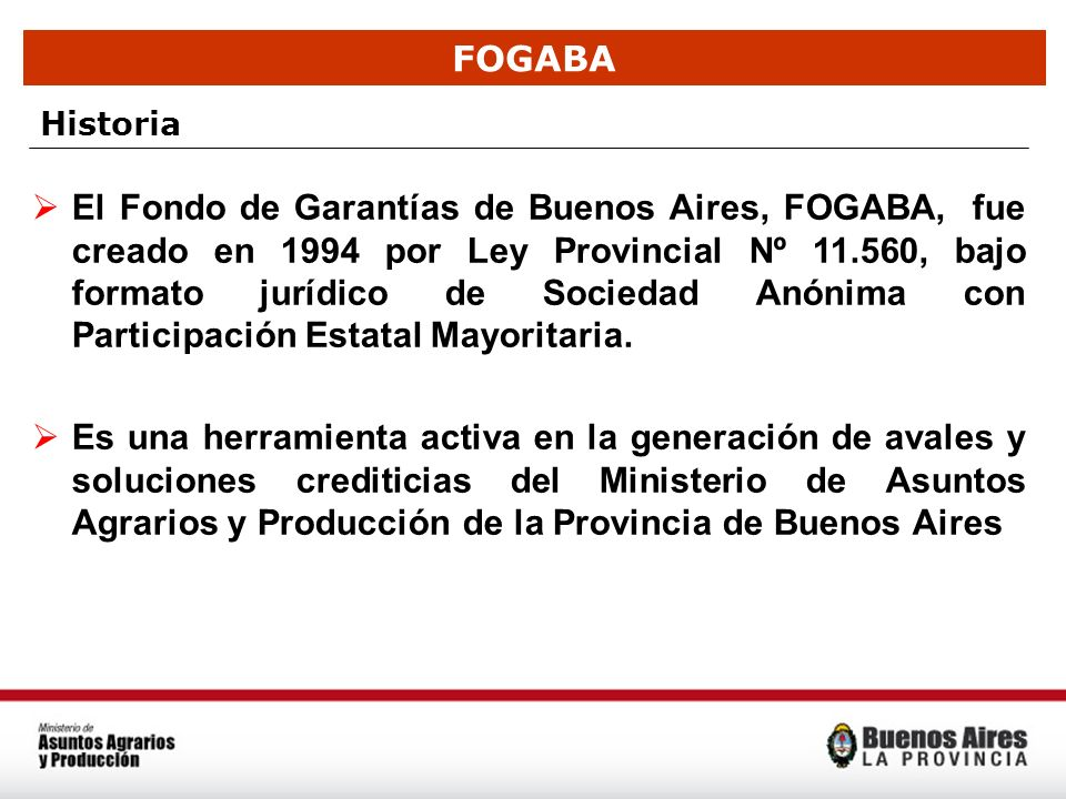 FOGABA Historia El Fondo de Garantías de Buenos Aires, FOGABA, fue creado en 1994 por Ley Provincial Nº 11.560, bajo formato jurídico de Sociedad Anón