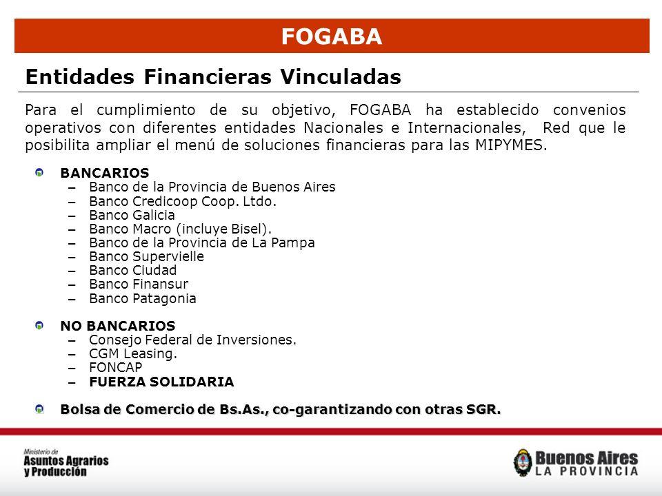 FOGABA Entidades Financieras Vinculadas BANCARIOS – Banco de la Provincia de Buenos Aires – Banco Credicoop Coop. Ltdo. – Banco Galicia – Banco Macro