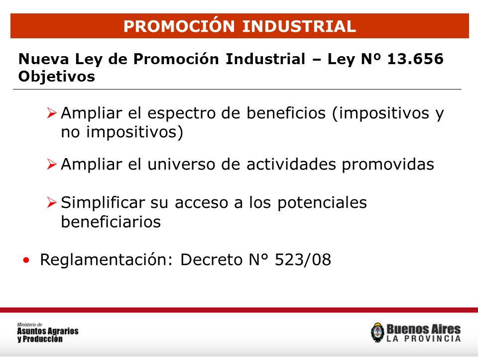 PROMOCIÓN INDUSTRIAL Nueva Ley de Promoción Industrial – Ley Nº 13.656 Objetivos Ampliar el espectro de beneficios (impositivos y no impositivos) Ampl