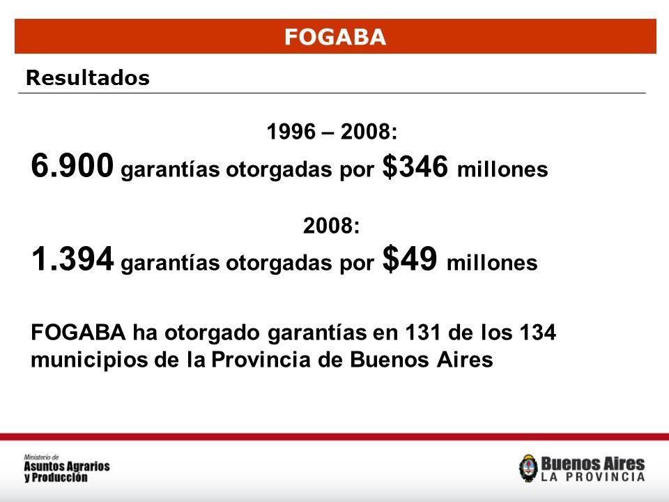 FOGABA Resultados 1996 – 2008: 6.900 garantías otorgadas por $346 millones 2008: 1.394 garantías otorgadas por $49 millones FOGABA ha otorgado garantí