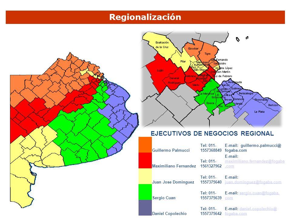 EJECUTIVOS DE NEGOCIOS REGIONAL Guillermo Palmucci Tel: 011- 1557368849 E-mail: guillermo.palmucci@ fogaba.com Maximiliano Fernandez Tel: 011- 1561327