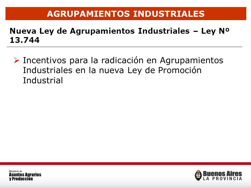AGRUPAMIENTOS INDUSTRIALES Nueva Ley de Agrupamientos Industriales – Ley Nº 13.744 Incentivos para la radicación en Agrupamientos Industriales en la n