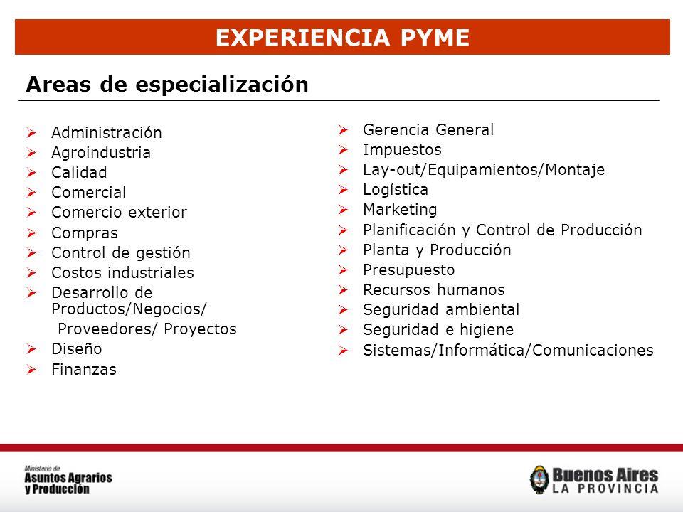 EXPERIENCIA PYME Areas de especialización Administración Agroindustria Calidad Comercial Comercio exterior Compras Control de gestión Costos industria