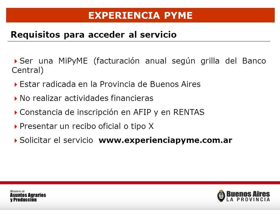 EXPERIENCIA PYME Requisitos para acceder al servicio Ser una MiPyME (facturación anual según grilla del Banco Central) Estar radicada en la Provincia