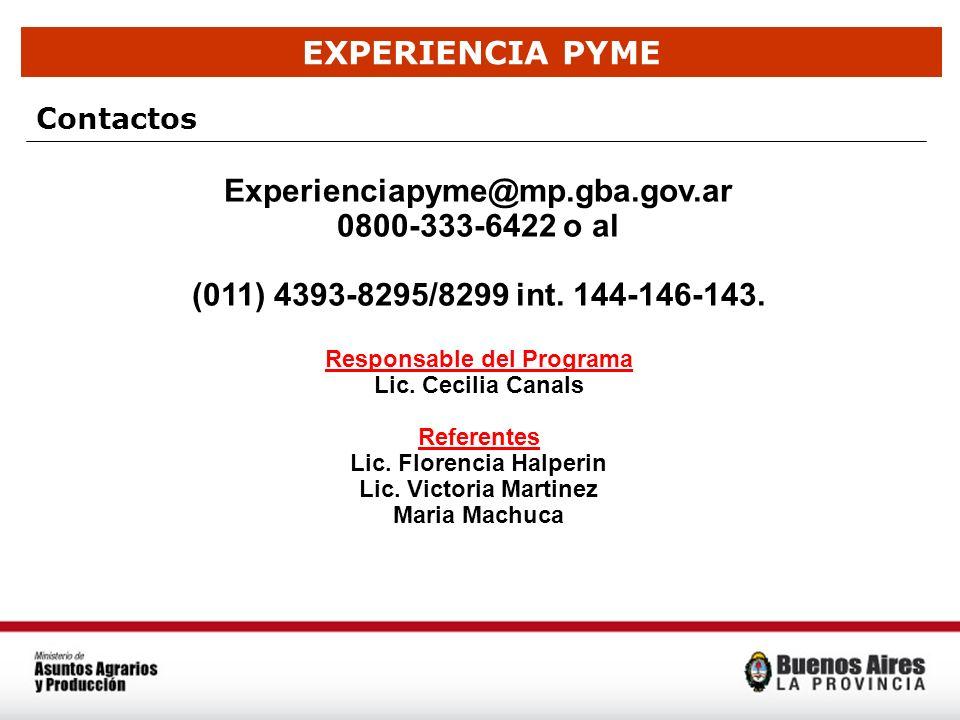EXPERIENCIA PYME Contactos Experienciapyme@mp.gba.gov.ar 0800-333-6422 o al (011) 4393-8295/8299 int. 144-146-143. Responsable del Programa Lic. Cecil