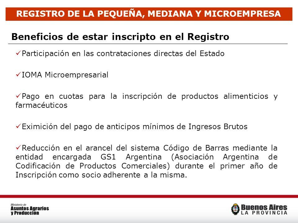 REGISTRO DE LA PEQUEÑA, MEDIANA Y MICROEMPRESA Beneficios de estar inscripto en el Registro Participación en las contrataciones directas del Estado IO