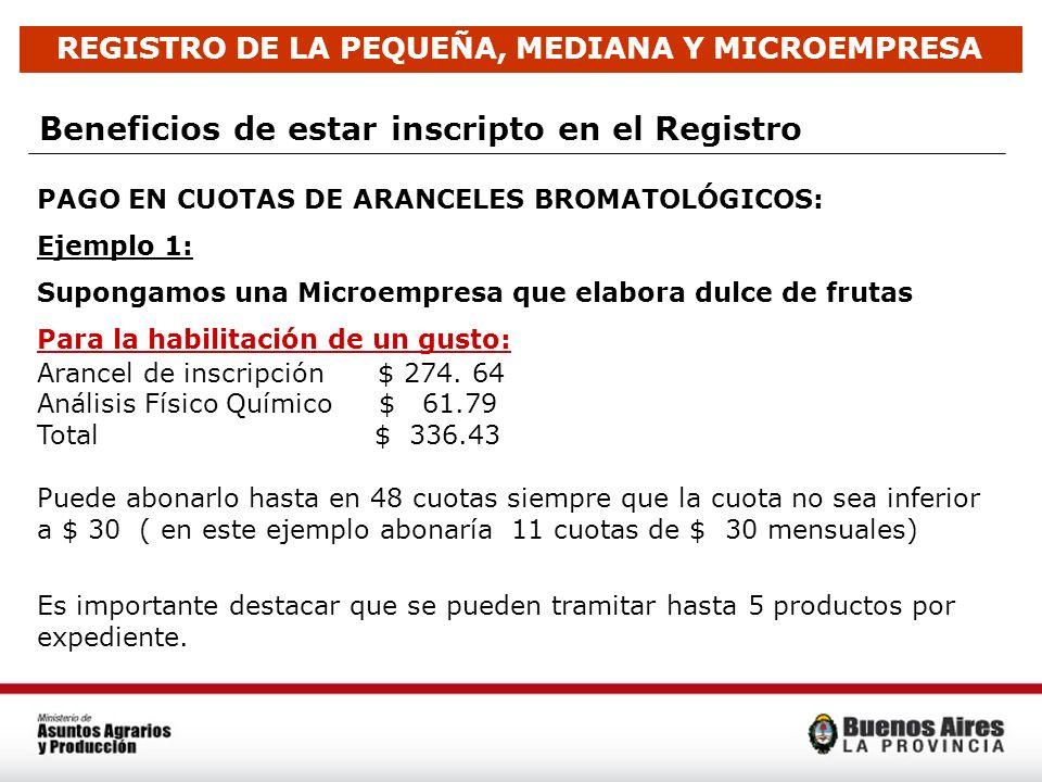 Beneficios de estar inscripto en el Registro PAGO EN CUOTAS DE ARANCELES BROMATOLÓGICOS: Ejemplo 1: Supongamos una Microempresa que elabora dulce de f