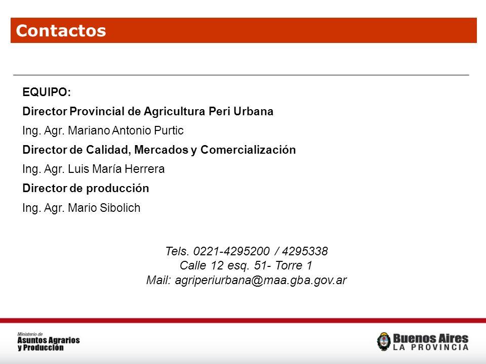 Contactos EQUIPO: Director Provincial de Agricultura Peri Urbana Ing. Agr. Mariano Antonio Purtic Director de Calidad, Mercados y Comercialización Ing