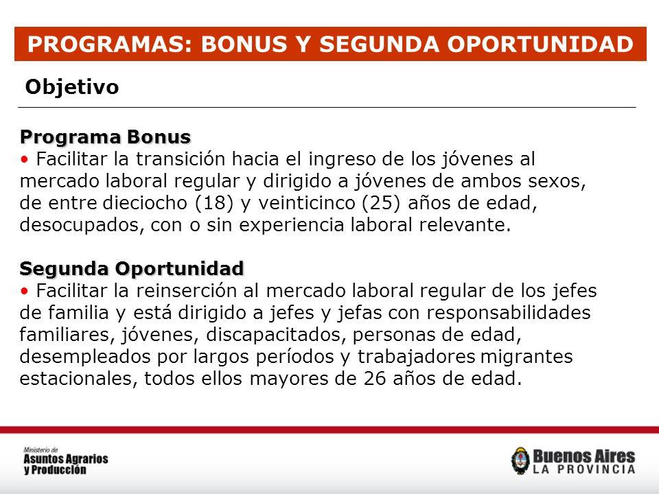 PROGRAMAS: BONUS Y SEGUNDA OPORTUNIDAD Objetivo Programa Bonus Facilitar la transición hacia el ingreso de los jóvenes al mercado laboral regular y di