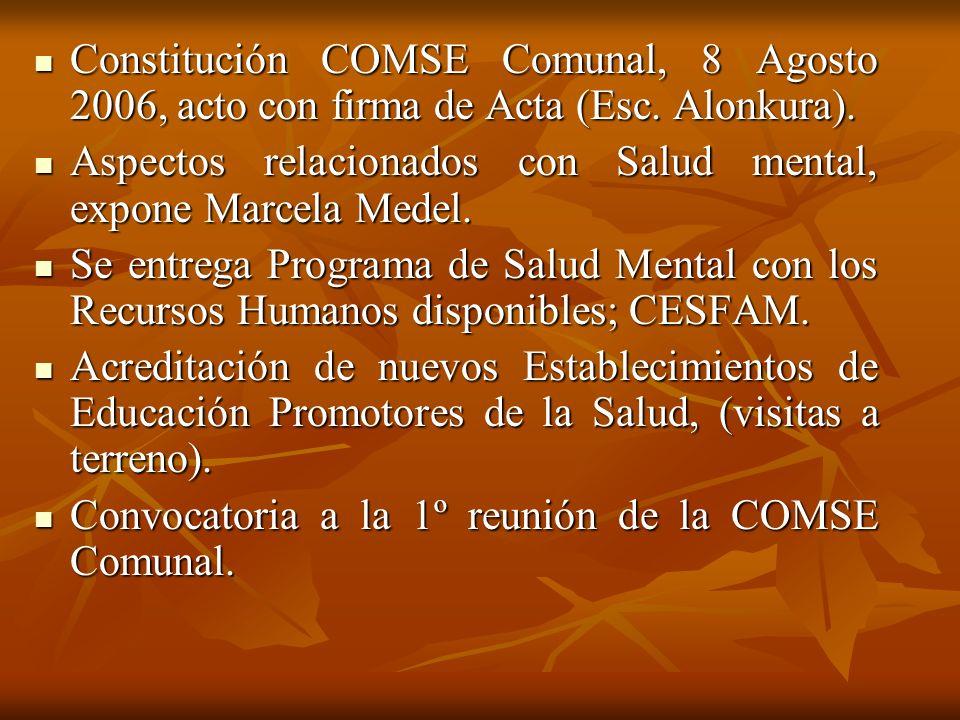 Constitución COMSE Comunal, 8 Agosto 2006, acto con firma de Acta (Esc. Alonkura). Constitución COMSE Comunal, 8 Agosto 2006, acto con firma de Acta (