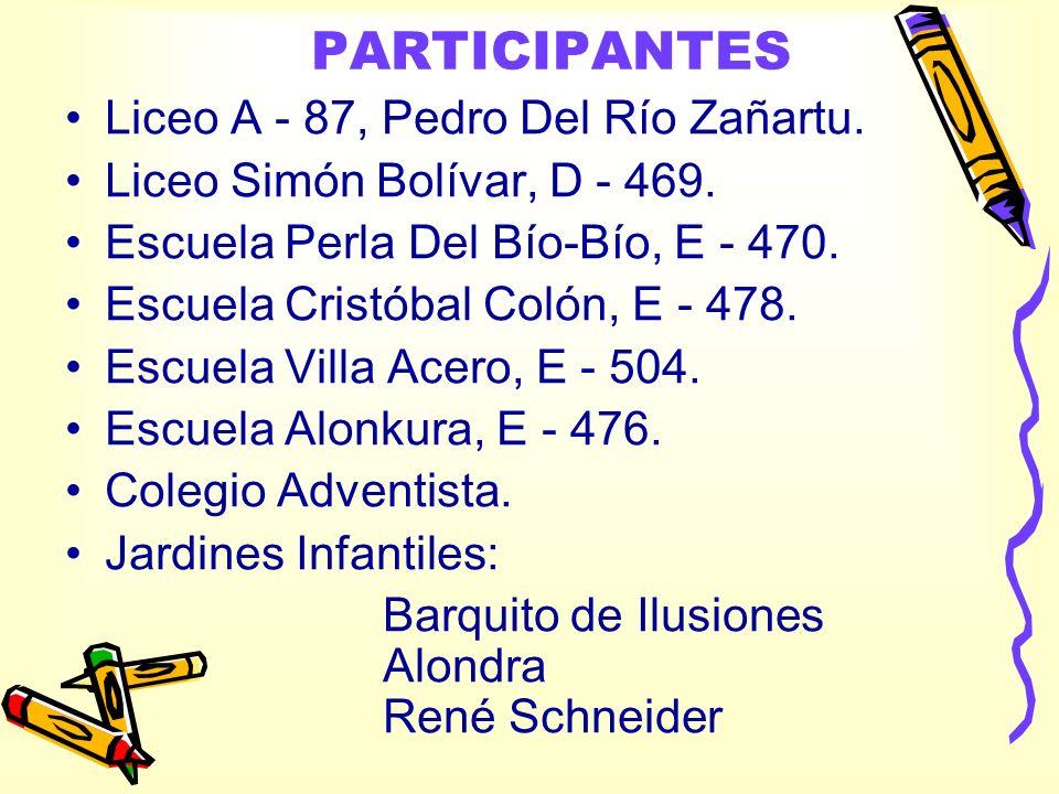 PARTICIPANTES Liceo A - 87, Pedro Del Río Zañartu. Liceo Simón Bolívar, D - 469. Escuela Perla Del Bío-Bío, E - 470. Escuela Cristóbal Colón, E - 478.
