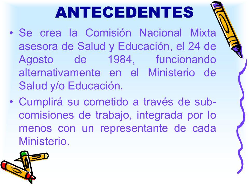 ANTECEDENTES Se crea la Comisión Nacional Mixta asesora de Salud y Educación, el 24 de Agosto de 1984, funcionando alternativamente en el Ministerio d