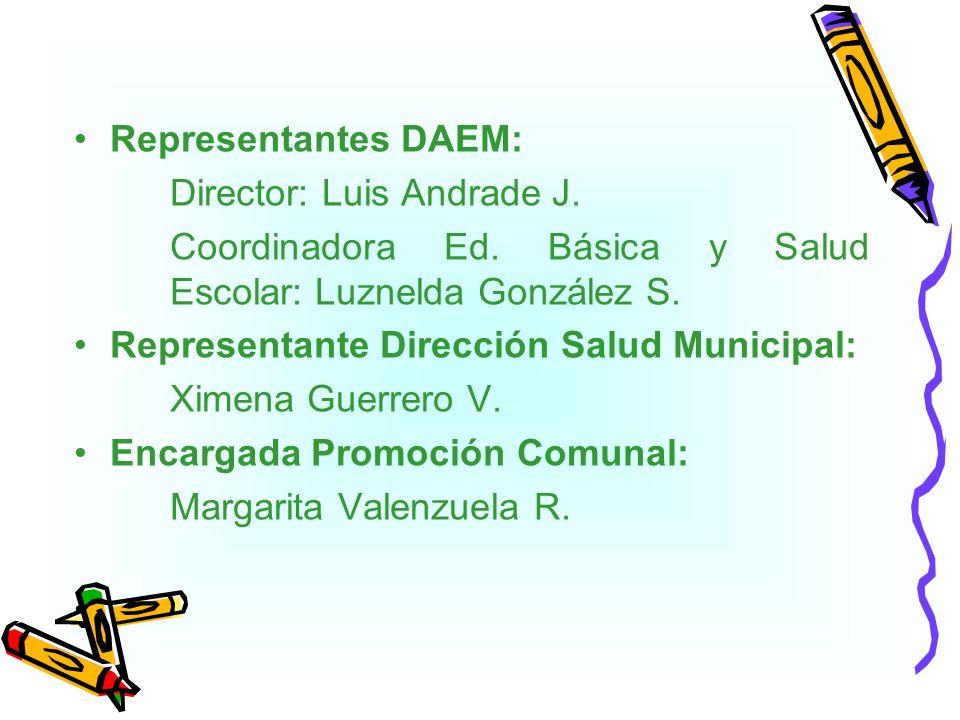 Representantes DAEM: Director: Luis Andrade J. Coordinadora Ed. Básica y Salud Escolar: Luznelda González S. Representante Dirección Salud Municipal: