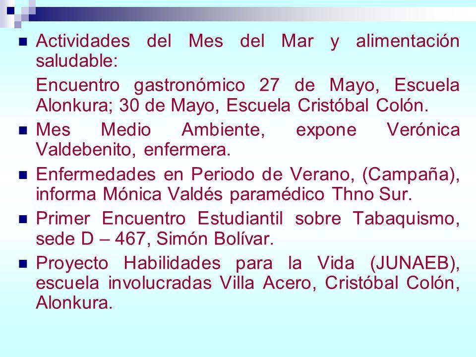 Actividades del Mes del Mar y alimentación saludable: Encuentro gastronómico 27 de Mayo, Escuela Alonkura; 30 de Mayo, Escuela Cristóbal Colón. Mes Me