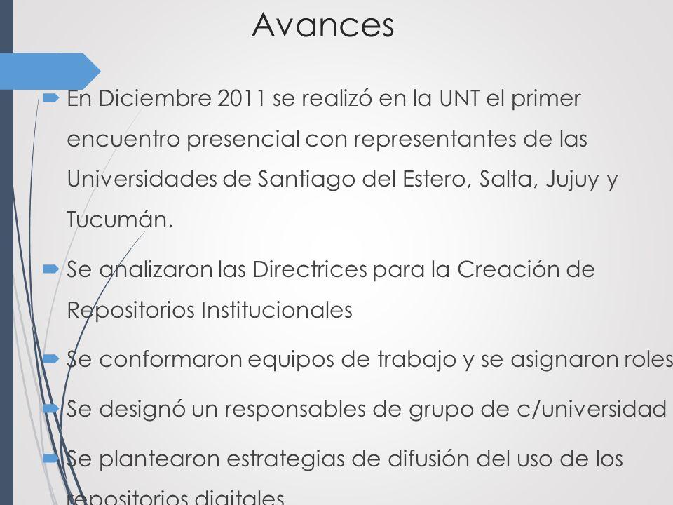 Avances En Diciembre 2011 se realizó en la UNT el primer encuentro presencial con representantes de las Universidades de Santiago del Estero, Salta, Jujuy y Tucumán.