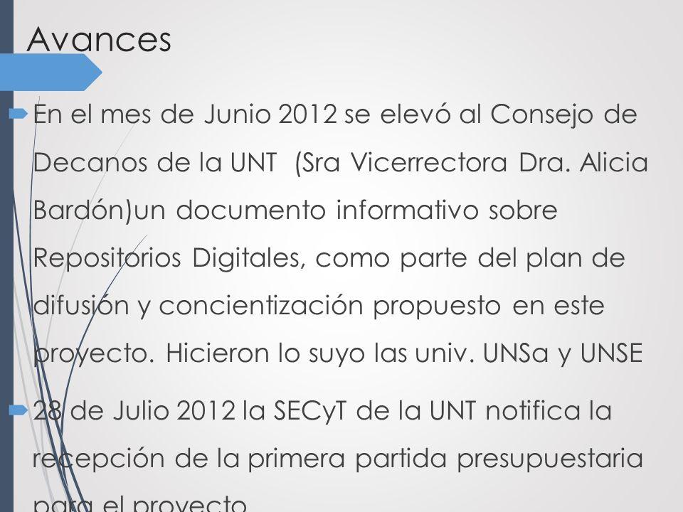 Avances En el mes de Junio 2012 se elevó al Consejo de Decanos de la UNT (Sra Vicerrectora Dra.