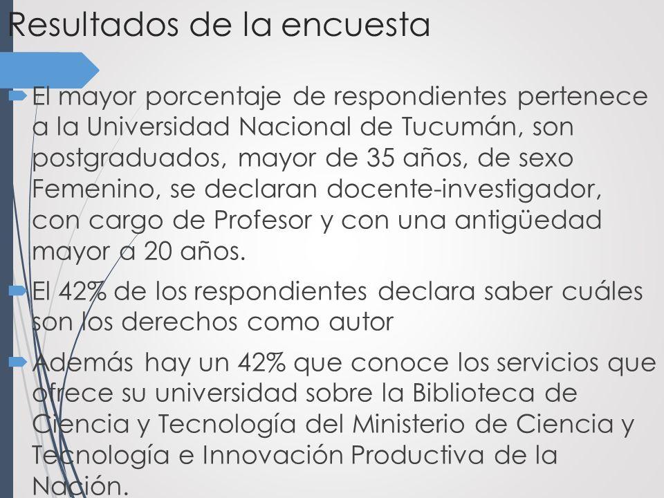 Resultados de la encuesta El mayor porcentaje de respondientes pertenece a la Universidad Nacional de Tucumán, son postgraduados, mayor de 35 años, de sexo Femenino, se declaran docente-investigador, con cargo de Profesor y con una antigüedad mayor a 20 años.