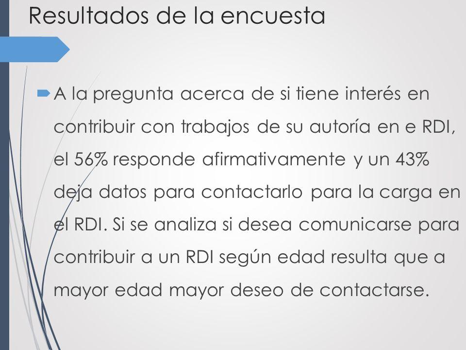 Resultados de la encuesta A la pregunta acerca de si tiene interés en contribuir con trabajos de su autoría en e RDI, el 56% responde afirmativamente y un 43% deja datos para contactarlo para la carga en el RDI.