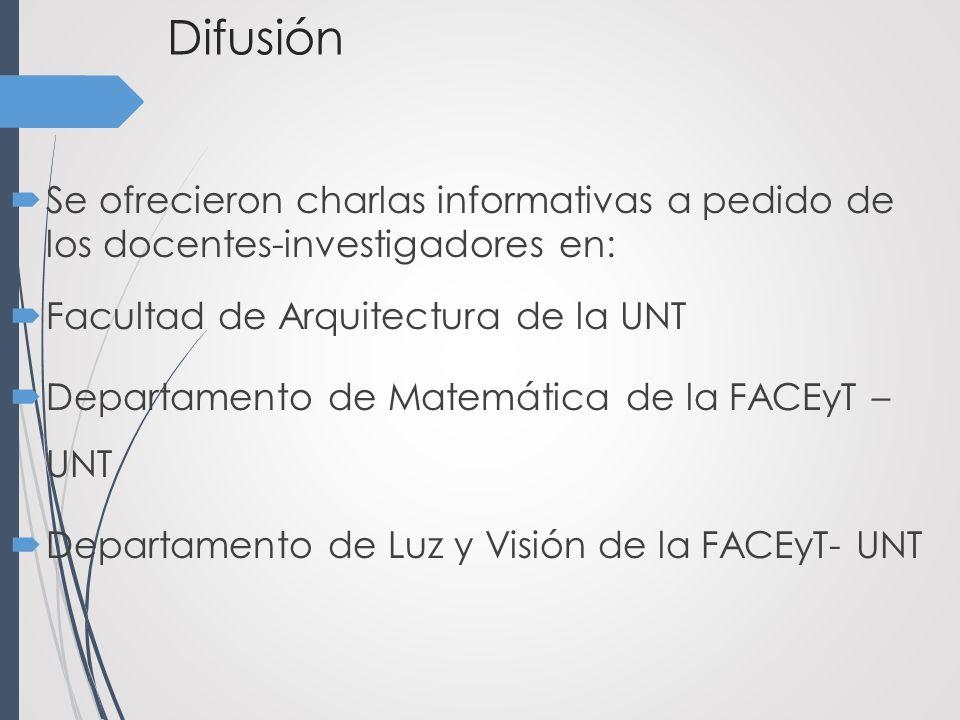 Difusión Se ofrecieron charlas informativas a pedido de los docentes-investigadores en: Facultad de Arquitectura de la UNT Departamento de Matemática de la FACEyT – UNT Departamento de Luz y Visión de la FACEyT- UNT