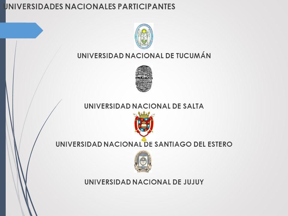 UNIVERSIDADES NACIONALES PARTICIPANTES UNIVERSIDAD NACIONAL DE TUCUMÁN UNIVERSIDAD NACIONAL DE SALTA UNIVERSIDAD NACIONAL DE SANTIAGO DEL ESTERO UNIVERSIDAD NACIONAL DE JUJUY