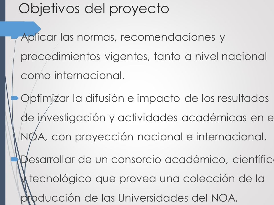 Objetivos del proyecto Aplicar las normas, recomendaciones y procedimientos vigentes, tanto a nivel nacional como internacional.