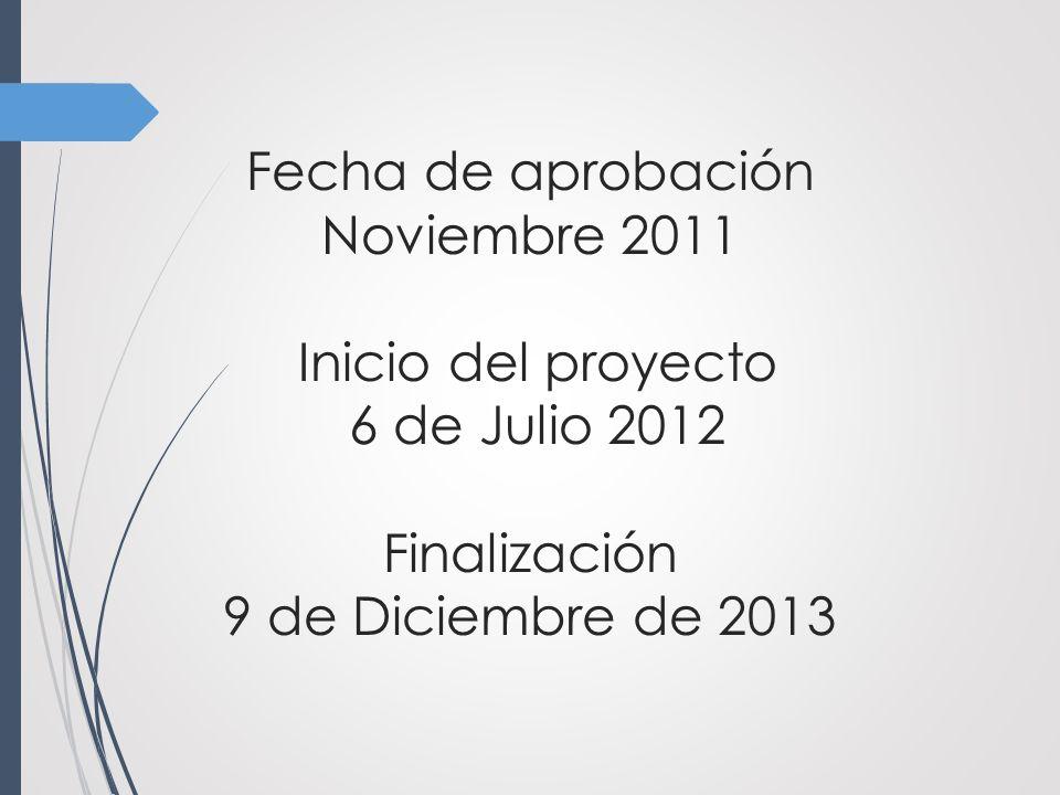 Fecha de aprobación Noviembre 2011 Inicio del proyecto 6 de Julio 2012 Finalización 9 de Diciembre de 2013