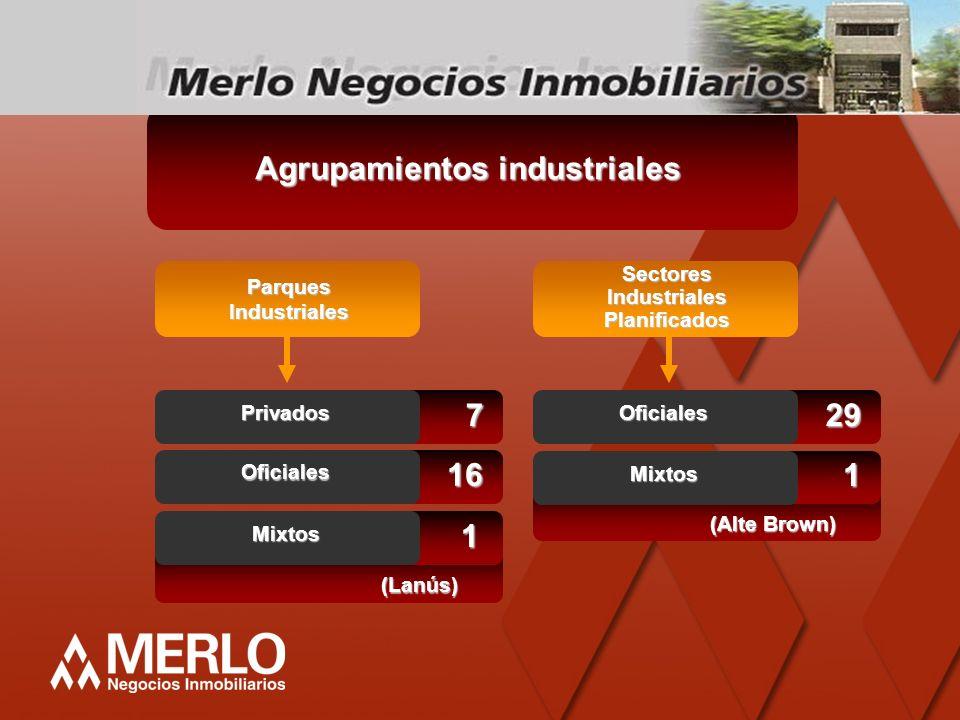 Agrupamientos industriales ParquesIndustriales SectoresIndustrialesPlanificados 7 Privados 16 Oficiales 29 Oficiales (Lanús) 1 Mixtos (Alte Brown) 1 M