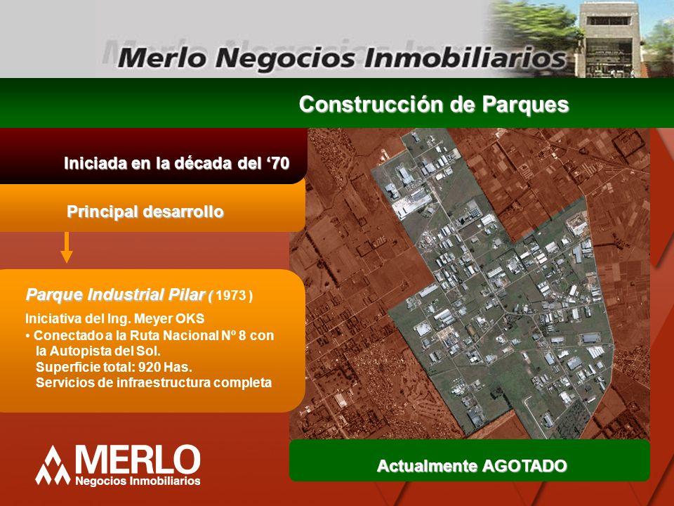 Principal desarrollo Iniciada en la década del 70 Construcción de Parques Parque Industrial Pilar ( Parque Industrial Pilar ( 1973 ) Iniciativa del In