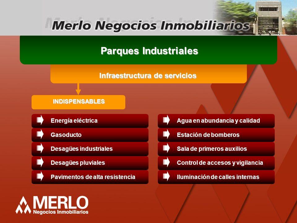 Infraestructura de servicios INDISPENSABLES Parques Industriales Energía eléctricaGasoductoDesagües industrialesDesagües pluvialesPavimentos de alta r