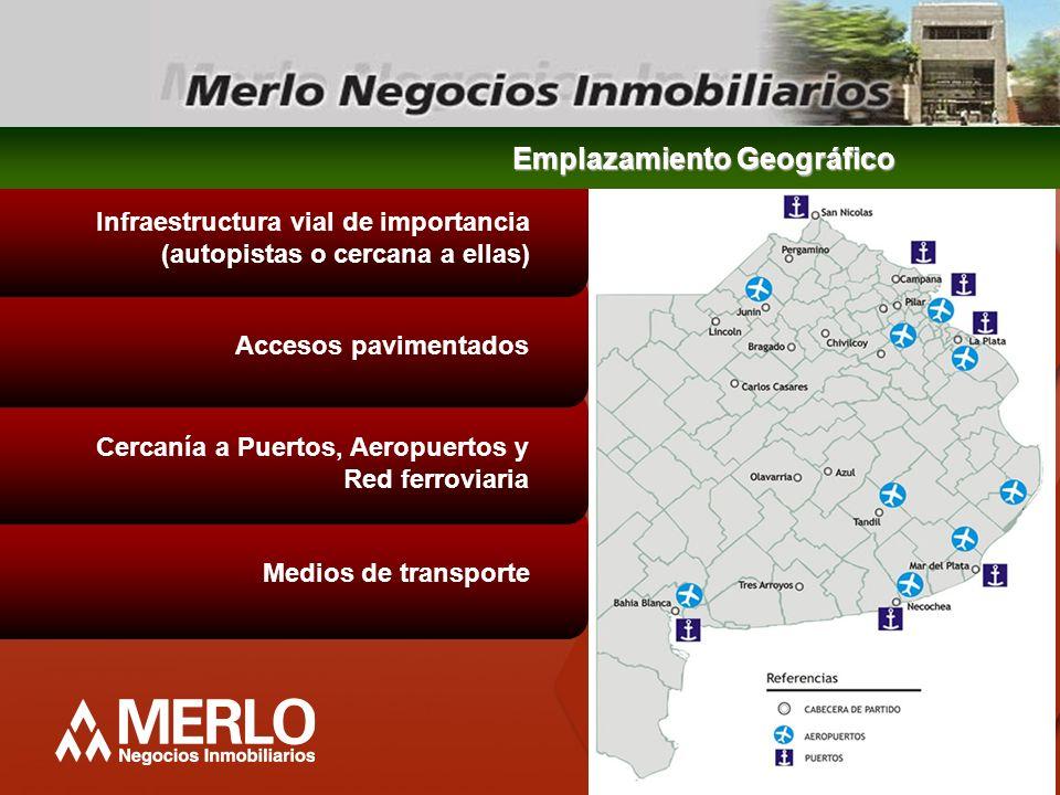 Medios de transporte Cercanía a Puertos, Aeropuertos y Red ferroviaria Accesos pavimentados Infraestructura vial de importancia (autopistas o cercana