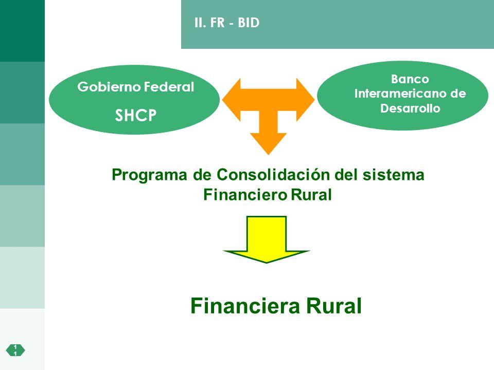 1 II. FR - BID Programa de Consolidación del sistema Financiero Rural Gobierno Federal SHCP Financiera Rural Banco Interamericano de Desarrollo