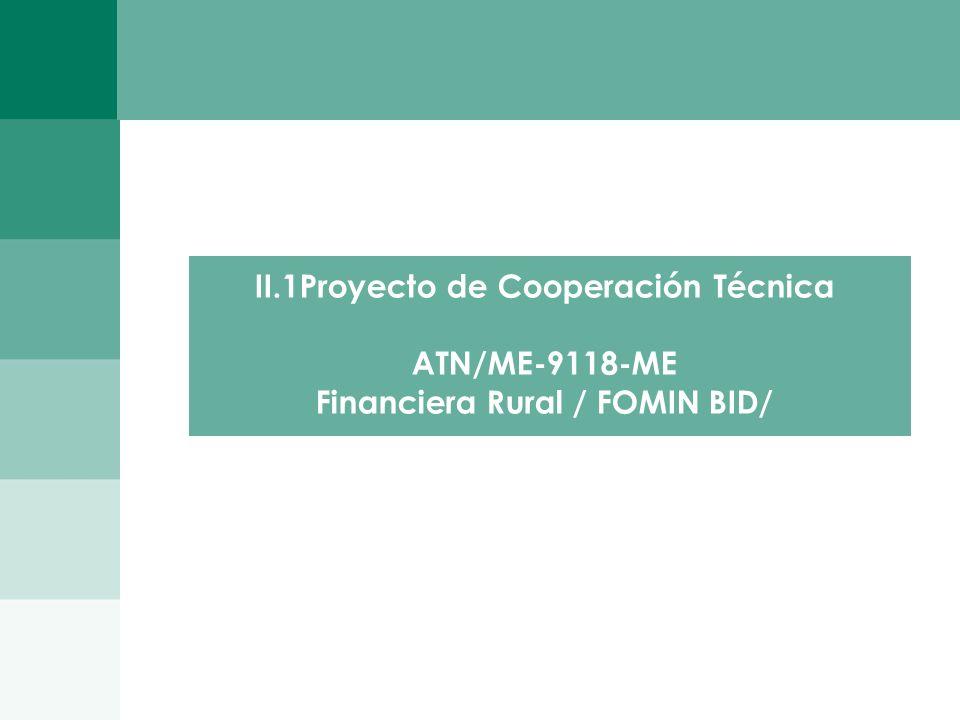 1515 II.1Proyecto de Cooperación Técnica ATN/ME-9118-ME Financiera Rural / FOMIN BID/