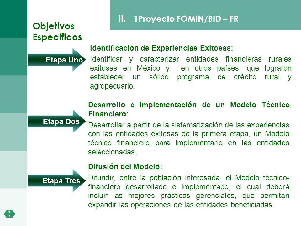 1717 II. 1Proyecto FOMIN/BID – FR Identificación de Experiencias Exitosas: Identificar y caracterizar entidades financieras rurales exitosas en México
