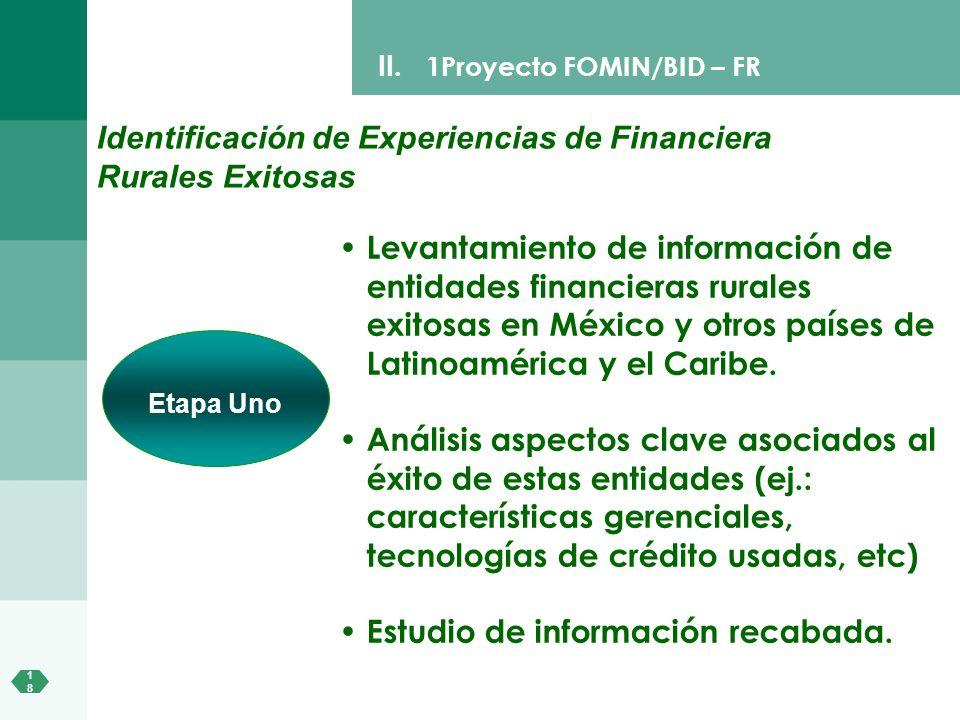 1818 II. 1Proyecto FOMIN/BID – FR Identificación de Experiencias de Financiera Rurales Exitosas Levantamiento de información de entidades financieras