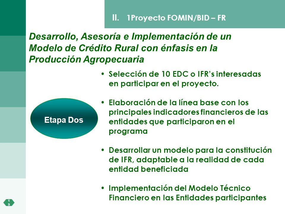 1919 II. 1Proyecto FOMIN/BID – FR Etapa Dos Selección de 10 EDC o IFRs interesadas en participar en el proyecto. Elaboración de la línea base con los