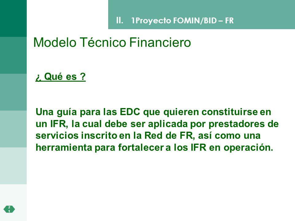 2121 II. 1Proyecto FOMIN/BID – FR Modelo Técnico Financiero ¿ Qué es ? Una guía para las EDC que quieren constituirse en un IFR, la cual debe ser apli