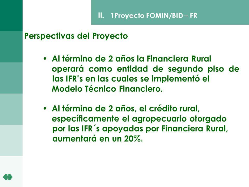 2323 II. 1Proyecto FOMIN/BID – FR Al término de 2 años la Financiera Rural operará como entidad de segundo piso de las IFRs en las cuales se implement